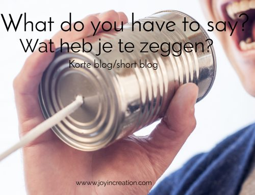 What do you have to say? (short blog) / Wat heb je te zeggen? (korte blog)